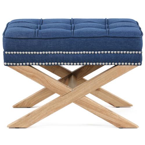 Hyde Park Home Navy Vanessa Upholstered Footstool