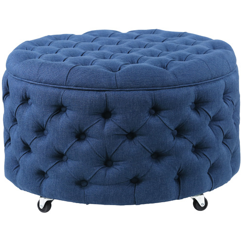 Hyde Park Home Navy Emma Upholstered Storage Ottoman
