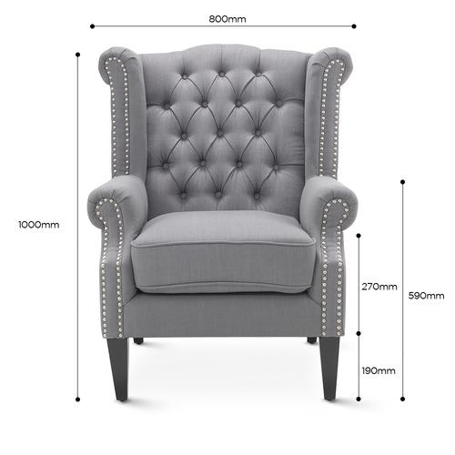 Hyde Park Home Grey Duke Wingback Armchair