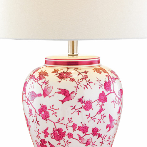 Hyde Park Home Pink Vanessa Ceramic & Metal Table Lamp