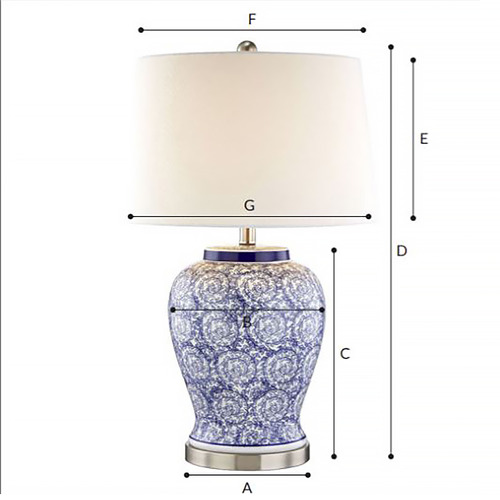 Hyde Park Home Eliza Swirl Ceramic Table Lamp