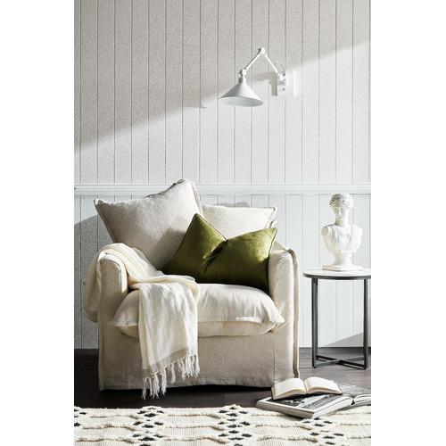 Hyde Park Home Stone Cumulus Linen Slipcover Armchair