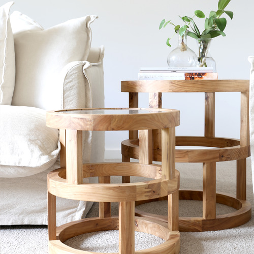 Hyde Park Home 2 Piece Lena Glass-Top Nesting Side Table Set | Stay at Home Mum