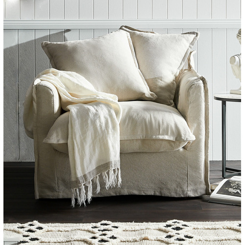 Hyde Park Home Stone Cumulus Linen Slipcover Armchair