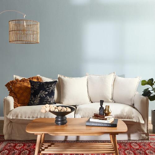 Hyde Park Home Stone Cumulus Premium 3 Seater Linen Slipcover Sofa