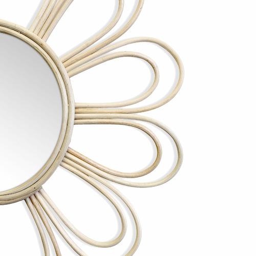 Natural Marley Daisy Flower Rattan Wall Mirror