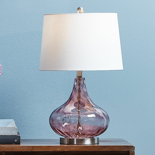 Hyde Park Home Pink Tear Drop Glass Table Lamp