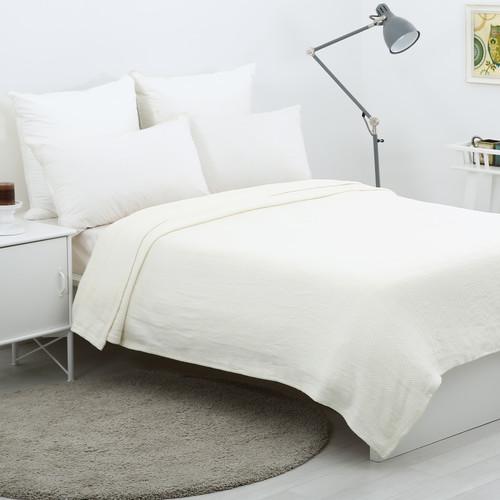 Dreamaker Waffle Egyptian Cotton Blanket Cream