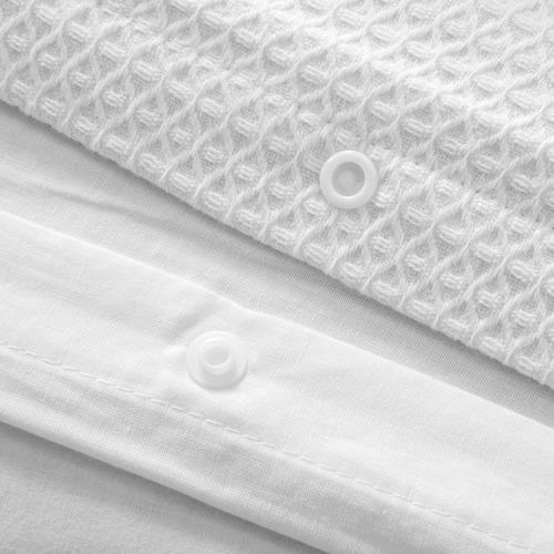 Dreamaker White Cotton Waffle Quilt Cover Set