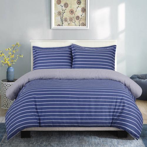 Dreamaker Carlo Reversible Cotton Sateen Quilt Cover Set