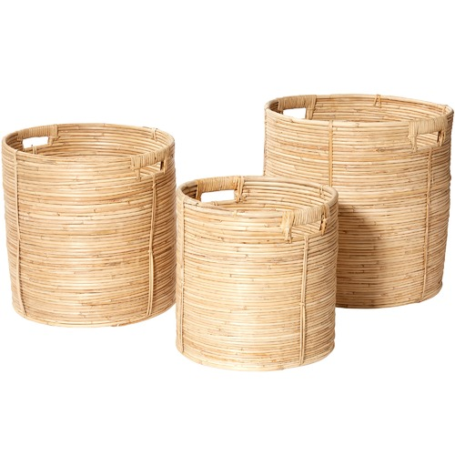 The Home Collective 3 Piece Tahmid Cane Basket Set