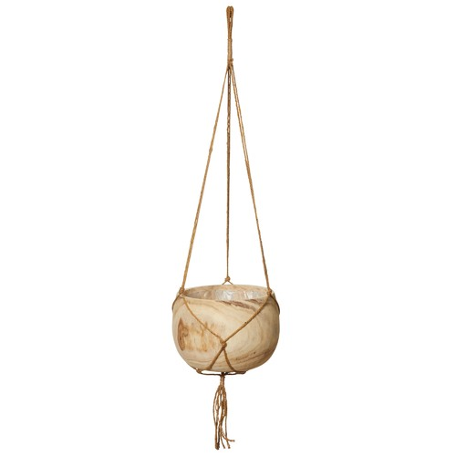The Home Collective Dansk Wood & Macrame Hanging Planters