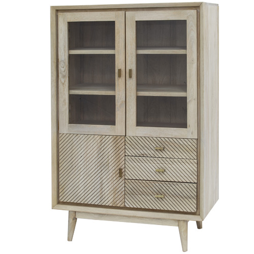 The Home Collective Alyanna Mango Wood Display Cabinet