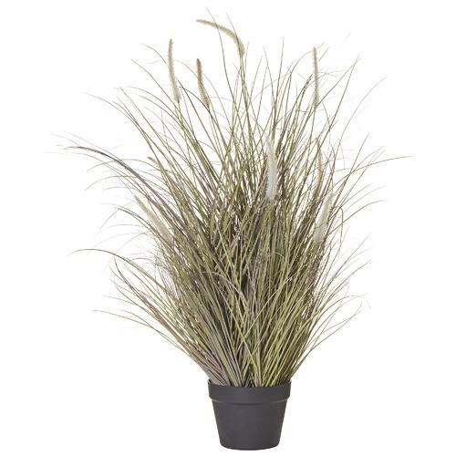 Faux Fountain Grass Plants in Garden Pots