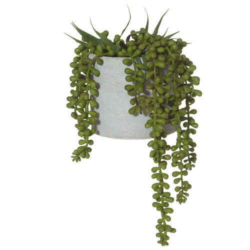 27cm Potted Faux String of Pearls Hanging Plant