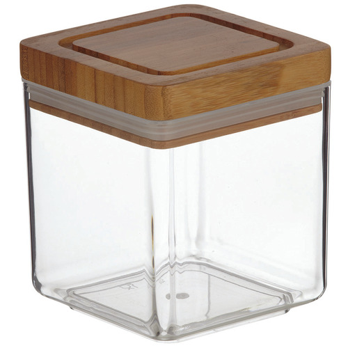 1L Glass & Bamboo Canisters with Lids