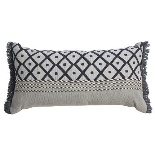Canvas & Sasson Grey Loom Tunis Cotton Cushion