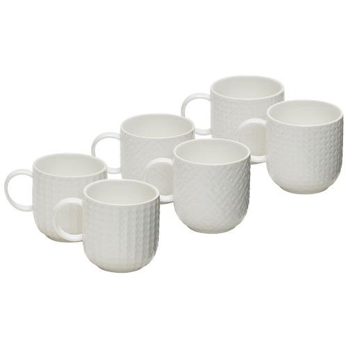 Salt & Pepper White Embossed Porcelain Mugs