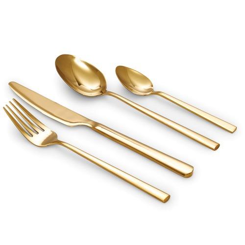 Salt & Pepper 16 Piece Gold Host Cutlery Set