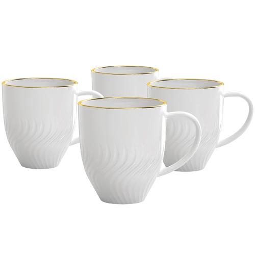 Salt & Pepper White & Gold Helix 350ml Mugs