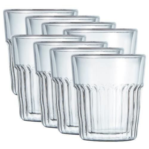 Salt & Pepper Brew Crinkle Double Wall 240ml Latte Glasses