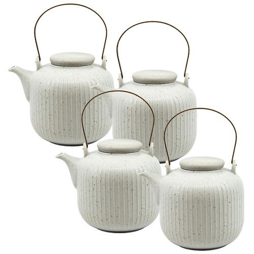 Salt & Pepper White Caro Speckled 1L Tea Pots