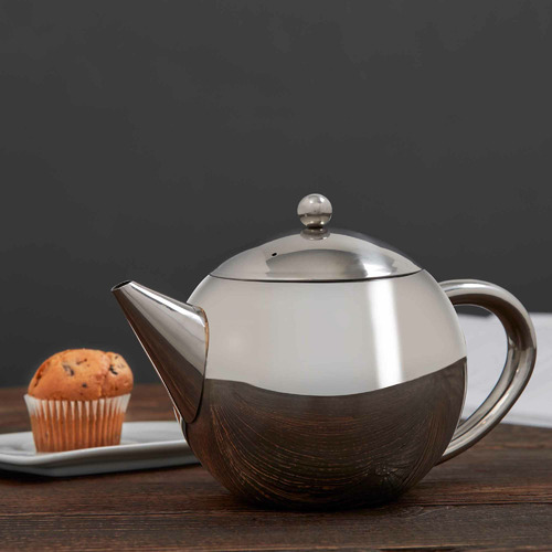 Silver 1.2L Stainless Steel Teapot with Infuser