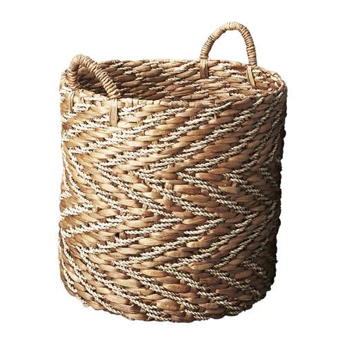 Inartisan Natural Chevron Water Hyacinth Basket with Seagrass Pattern