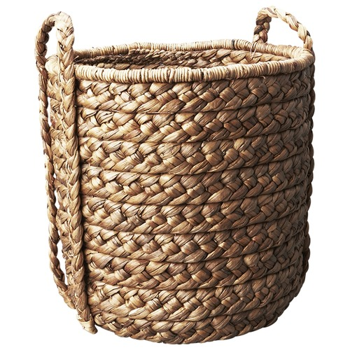 Inartisan Large Water Hyacinth Basket with Plaited Handle