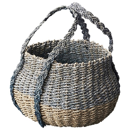 Inartisan Washed Blue Mini Belly Basket with Handle