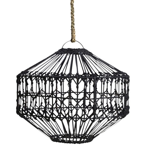 Inartisan Black Flat Rattan Lamp Shade
