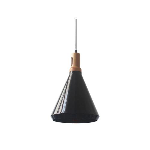 LUMINITE Conical Aluminium Wood Pendant Lamp