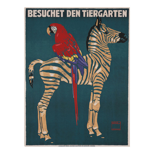 Vintage Munich Zoo Zebra Canvas Wall Art