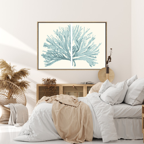 Split Coral Drop Shadow Framed Canvas Wall Art