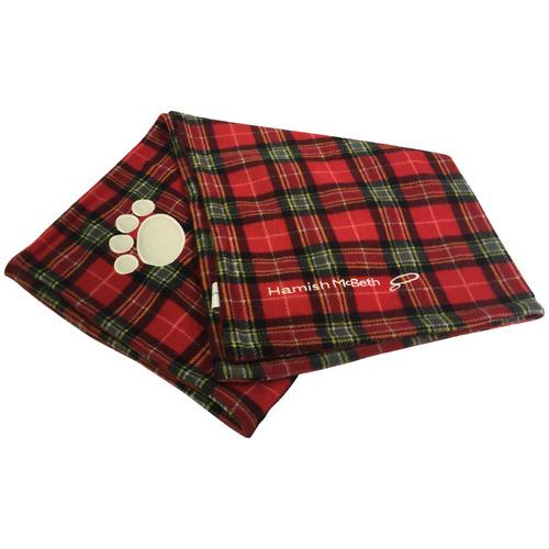 Red Tartan Plush Dog Blanket