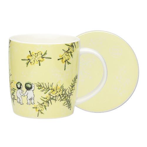 Ecology 2 Piece Yellow Wattle Fine China Mug & Coaster Set