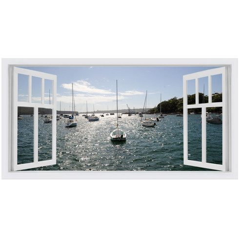 OasisEditionsAustralia Balmoral Boats Window Stretched Canvas