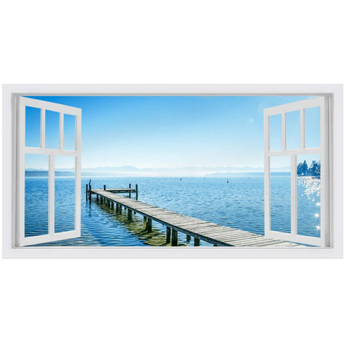 OasisEditionsAustralia Blue Window Stretched Canvas