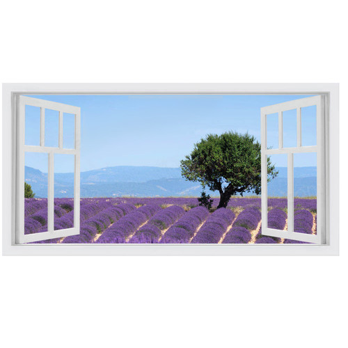 OasisEditionsAustralia Lavender Window Stretched Canvas