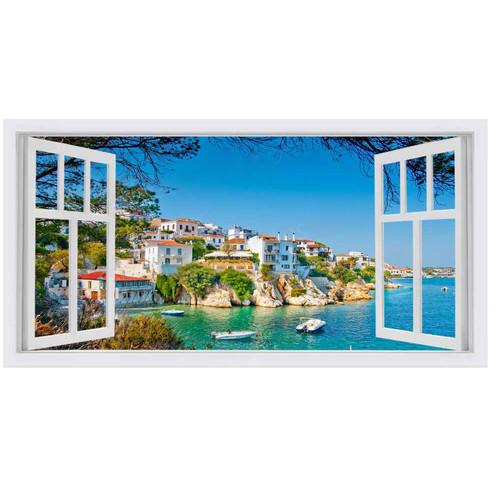 OasisEditionsAustralia Skiathos Window Stretched Canvas