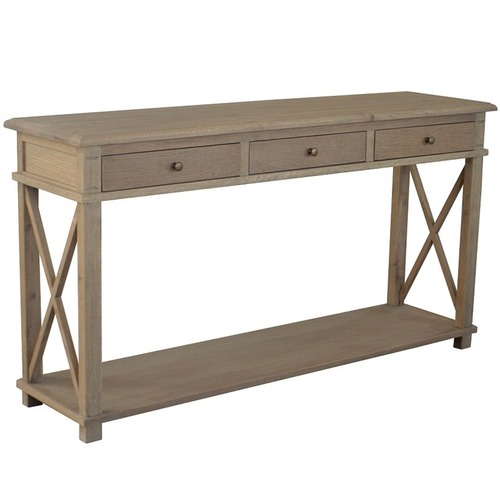 S & G Furniture X-Brace 3 Drawer Oak Console Table