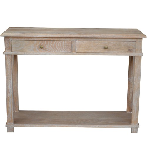 S & G Furniture X-Brace 2 Drawer Oak Console Table