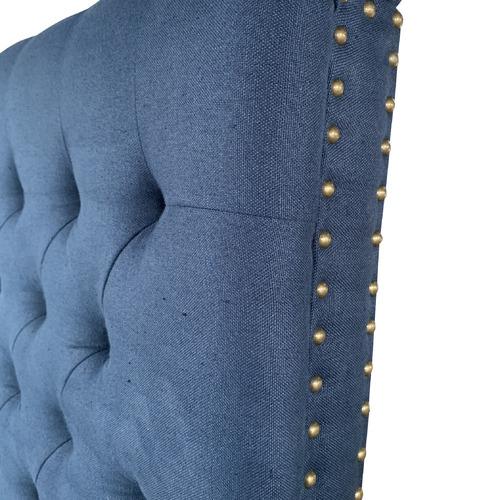 S & G Furniture Navy Chesterfield Linen Headboard