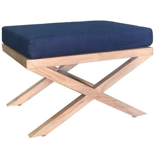 S & G Furniture Chelsea Linen & Oak Footstool