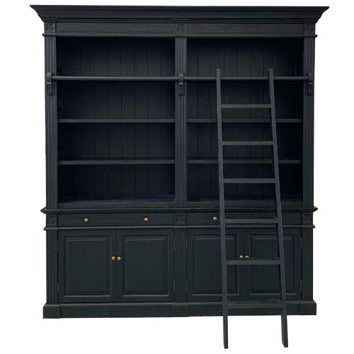 S & G Furniture Black French Wooden Bookcase with Ladder