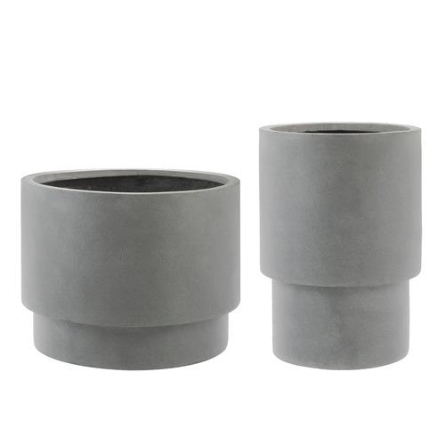 2 Piece Grey Miller Tower Pot Set