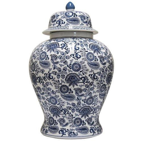 Florabelle Blue Paisley Porcelain Ginger Jar
