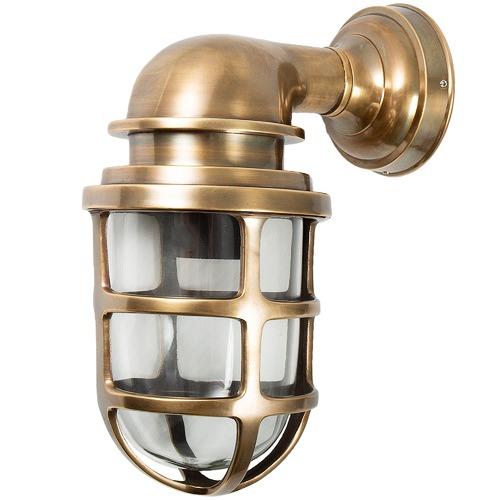 Florabelle Porto Glass Lantern in Antique Brass
