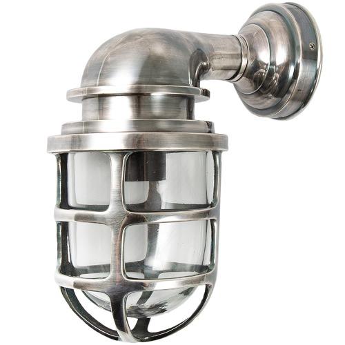 Florabelle Porto Glass Lantern in Antique Silver