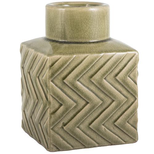 Florabelle Olive Green Aztec Ceramic Vase